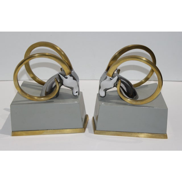 Art Deco Revival Gazelle Brass & Wood Bookends - a Pair For Sale In West Palm - Image 6 of 10