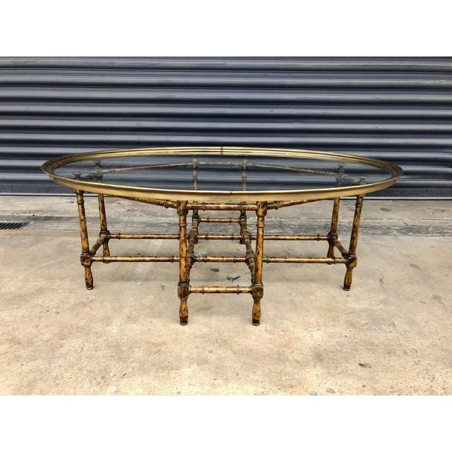 Boho Chic Vintage Faux Bamboo Brass Tray Top Coffee Table For Sale - Image 3 of 13