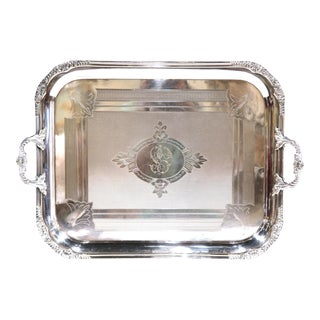 19th Century French Louis XV Silver Plated Tray with Repousse Decor and Stamped For Sale
