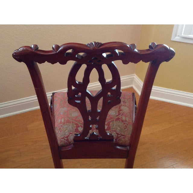 Wood Chippendale-Style Mahogany Dining Chairs - Set of 6 For Sale - Image 7 of 13