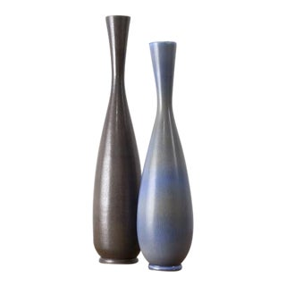 BERNDT FRIBERG Tall Studio Vases Sweden, ca. 1950 For Sale