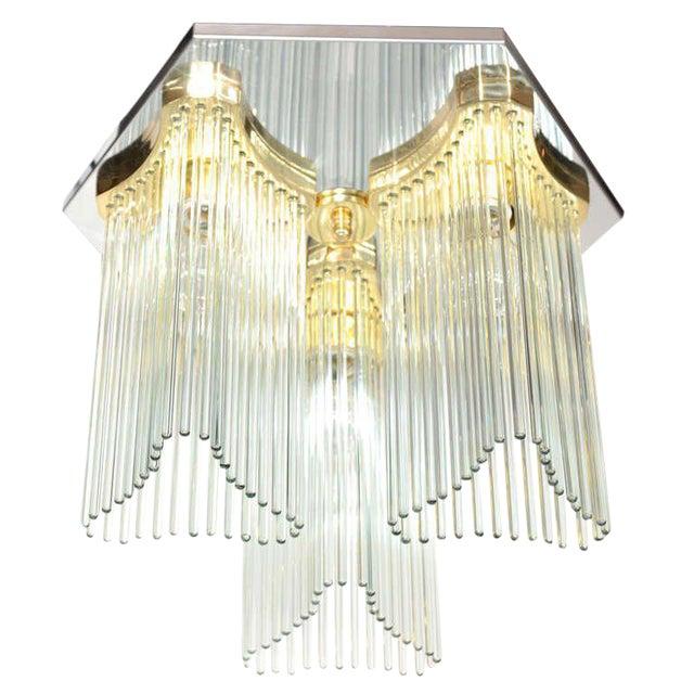 Mid Century Modern Glass Rod Waterfall Chandelier by Gaetano Sciolari For Sale