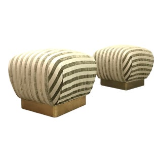 Mid Century Hollywood Regency Pair of Poufs by Marge Carson For Sale
