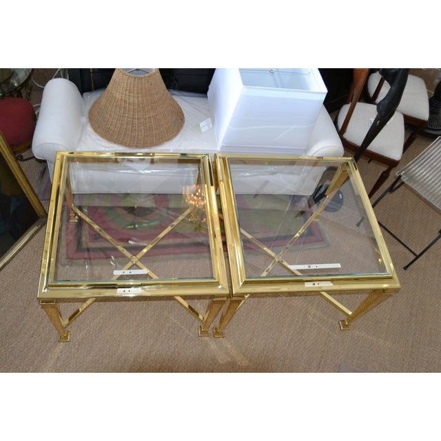 French Hollywood Regency French Maison Jansen Brass Tables With Glass Tops, Pair For Sale - Image 3 of 12