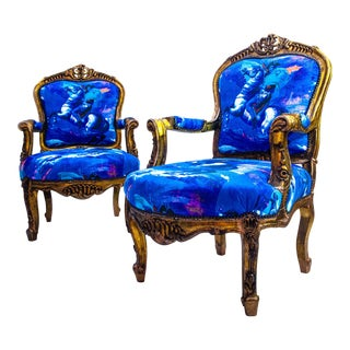 French John Loius Davis Blue Upholstered Bergere Chairs - a Pair For Sale