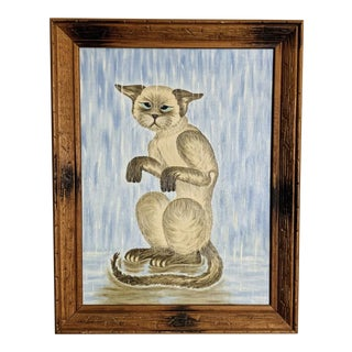 1982 Winnie Wardle Cat Oil Painting For Sale