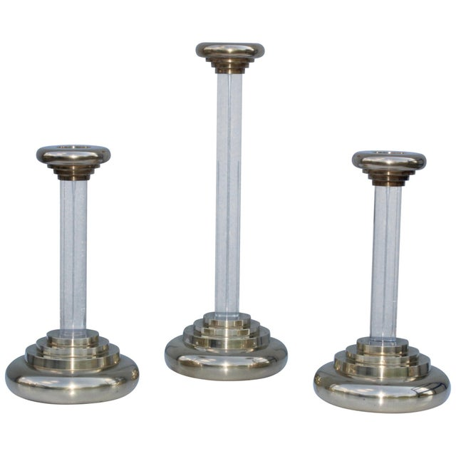 1980s Lucite and Brass Large Candleholders For Sale - Image 13 of 13