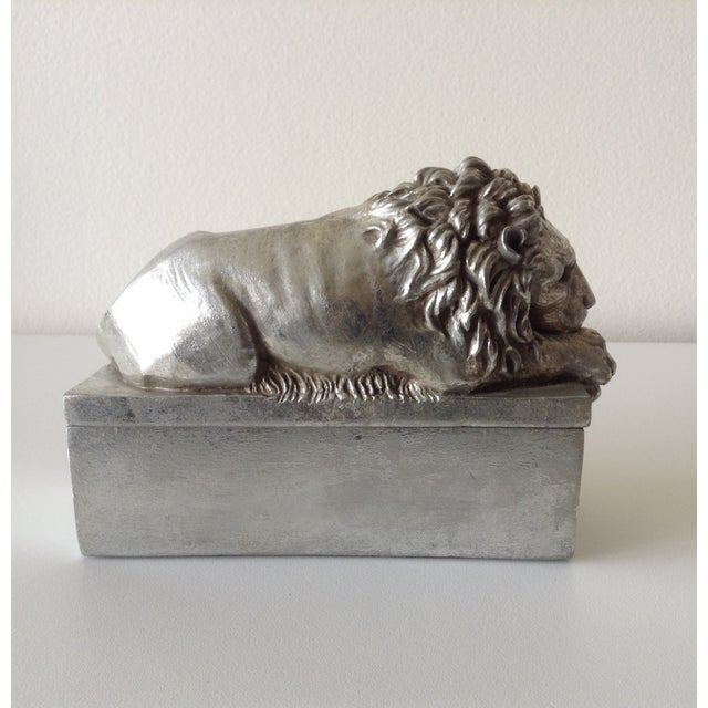 Silver Leaf Lion Lidded Boxes - Pair - Image 5 of 8