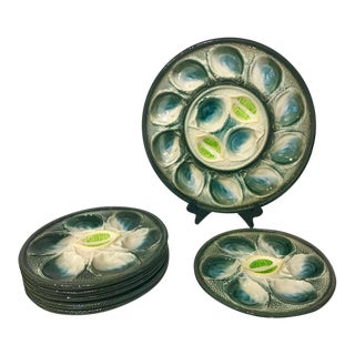 St Clement French Art Deco Majolica Set of 6 Oyster Plates and Serving Platter For Sale