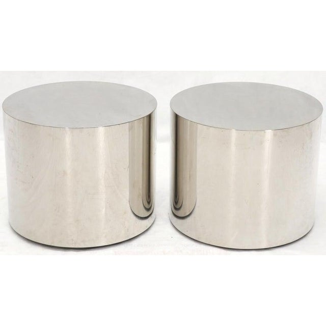 Mid-Century Modern Pair of Chrome Cylinder Side End Tables or Wide Pedestals For Sale - Image 3 of 10