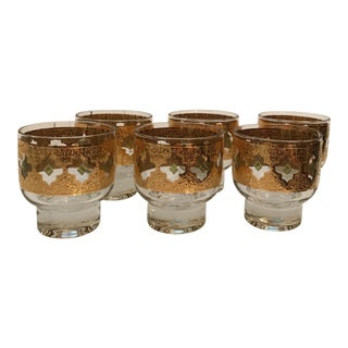 1950s Hollywood Regency Culver Ltd. Valencia Low Ball Pedestal Glasses - Set of 6