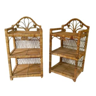 1970s Boho Chic Rattan End Tables 2 Tier Nightstands - a Pair For Sale