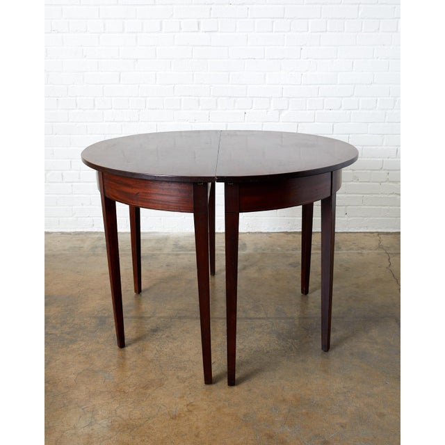 Metal English Hepplewhite Mahogany Dining Table With Demilunes For Sale - Image 7 of 13