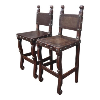 Vintage Spanish Style Rustic Brown Leather Bar Stools W Large Clavos - a Pair For Sale