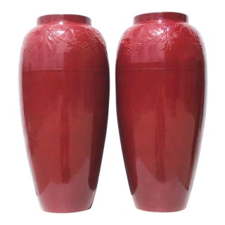 1930s Massive Robinson Ransbottom Red Ceramic Garden Urns - a Pair For Sale