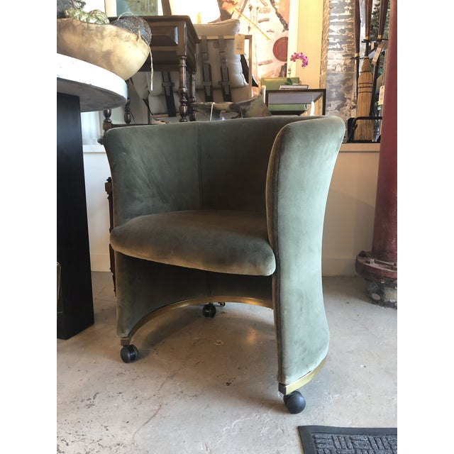 Mid-Century Modern Vintage Rounded Club Chair on Casters For Sale - Image 3 of 4