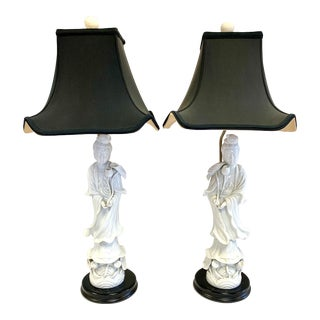 1970s Blanc De Chine Chinoiserie Porcelain Lamps With Shades - a Pair For Sale