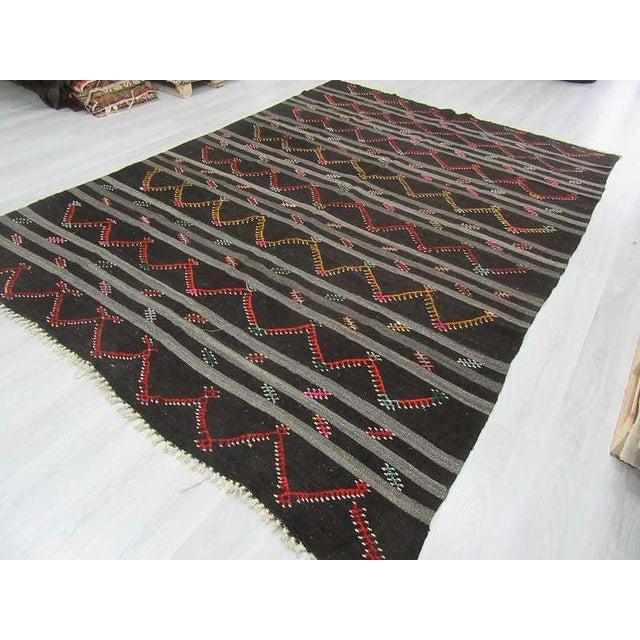 Vintage Embroidered Black & Grey Striped Goat Hair Kilim Rug - 8′3″ × 11′9″ For Sale - Image 5 of 6