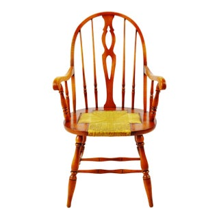 Antique Maple Windsor Style Bowback Armchair With Rush Seat For Sale