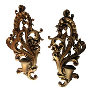 Vintage Rococo Gold Wall Candleholder Sconces For Sale