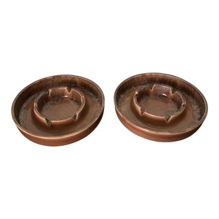 1960s Brown Ceramic Ashtrays - a Pair For Sale