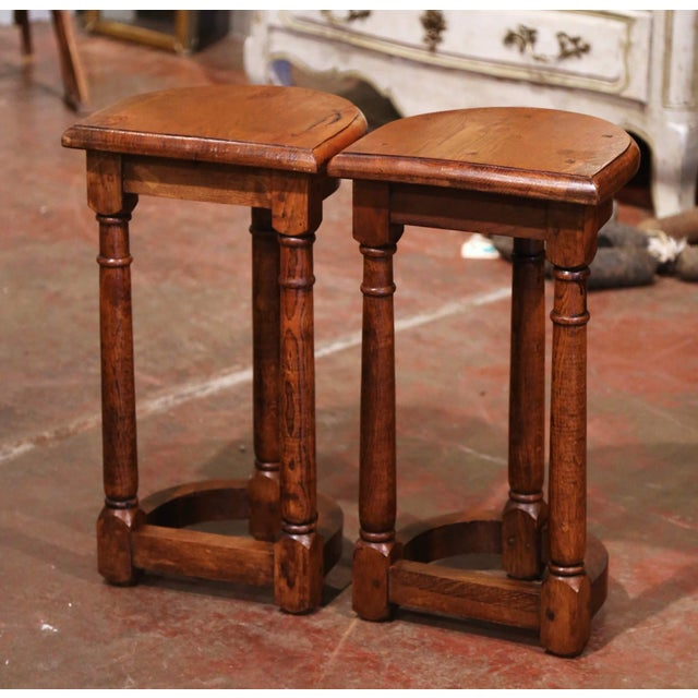 Brown 19th Century Louis XIII Oak Three-Leg Demilune Side Tables - a Pair For Sale - Image 8 of 9