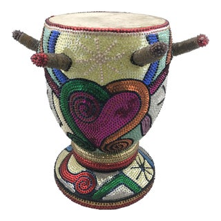Vintage Custom Sequin Covered Djembe Drum For Sale