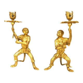Pair of French Louis XVI Style Bronze Dore Monkey Candlesticks For Sale