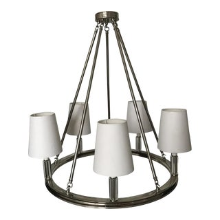 Sleek Polished Nickel Chandelier With Glass Accents and Paper Shades