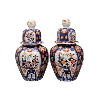 Antique Japanese Imari Urns, a Pair For Sale
