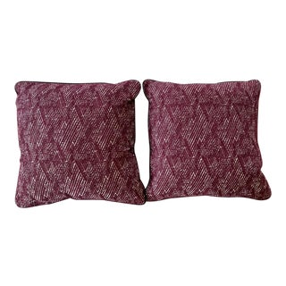Featured in The 2020 San Francisco Decorator Showcase — Custom Maroon Throw Pillow - Set of 2 For Sale