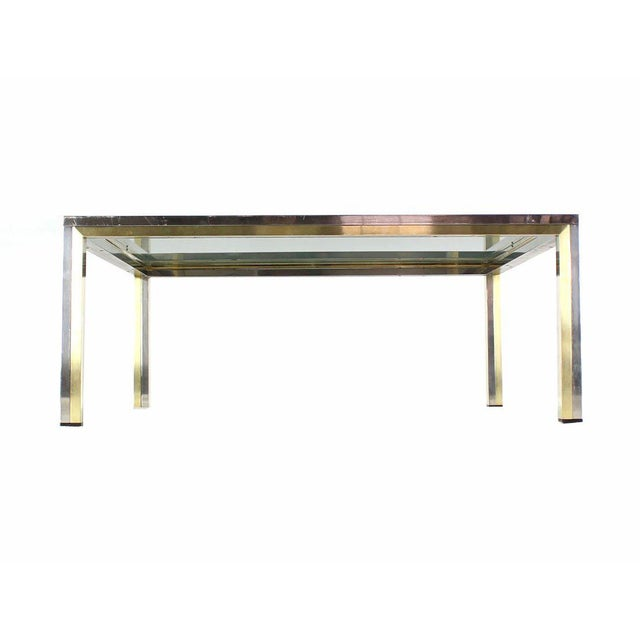 Chrome Square Brass, Chrome and Glass Coffee Table by Romeo Rega For Sale - Image 7 of 7