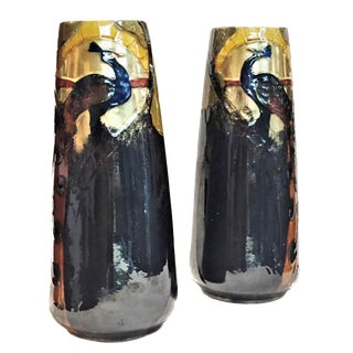 1900 Antique Frederic Rhead Arts & Crafts Terracotta Vases With Peacocks - a Pair For Sale