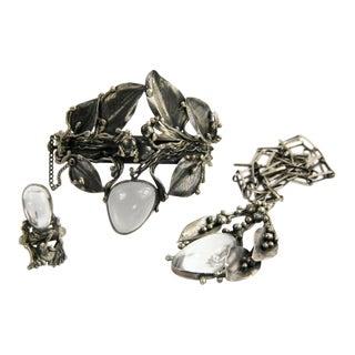 Silver & Rock Crystal Brutalist Parure Set Bracelet Necklace Ring For Sale
