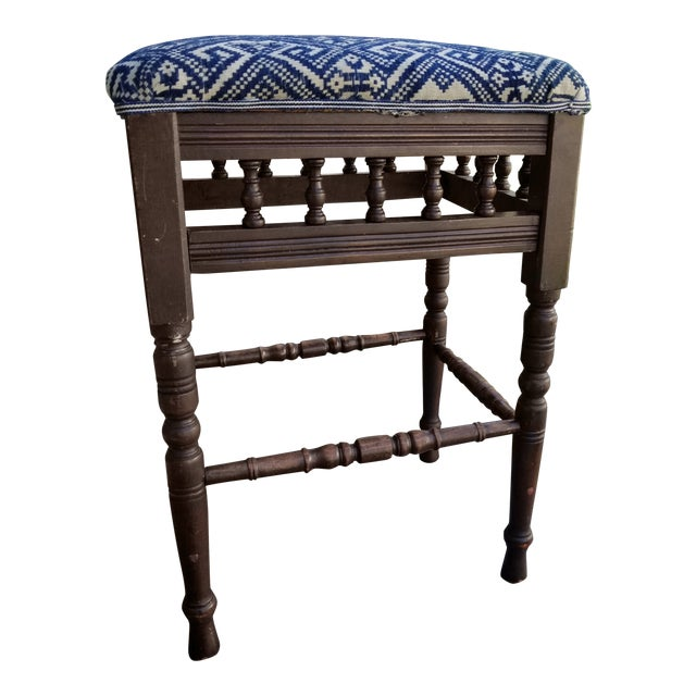 Antique 1930s Hand Embroidered Tribal Footstool For Sale