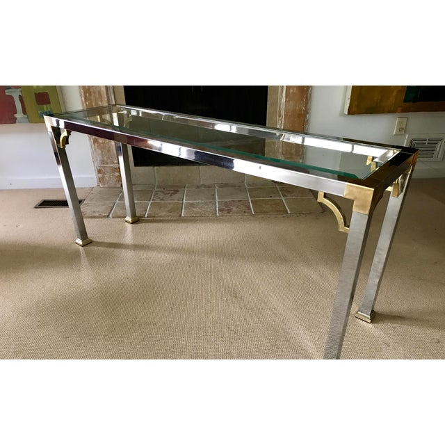 Mid Century Chrome and Glass Console / Sofa Table - Image 8 of 11