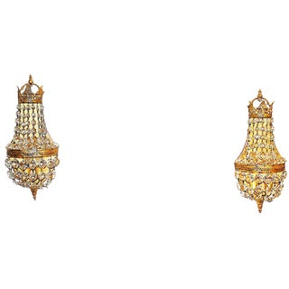French Regal Bronze Waterfall Sconces, Pair