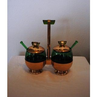 1940s Art Deco Emerald Glo Green Condiment Set Preview