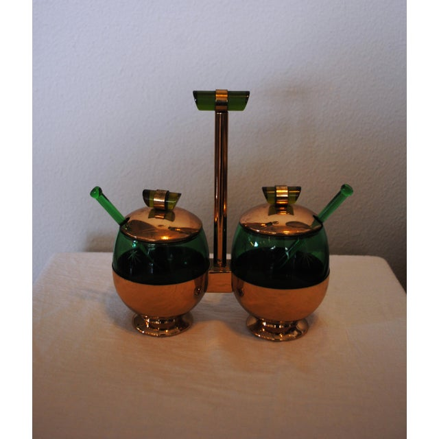 Vintage Art Deco Condiment Set Emerald-Glo by National Silver Co. This set has bakelite handles and etched glass vessels...