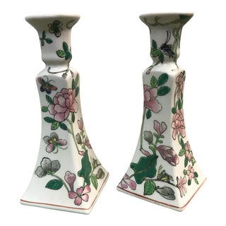 Porcelain Hand Painted Candle Holders - A Pair For Sale