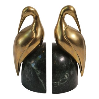 Mid-20th Century Brass Egret and Green Marble Bookends - a Pair For Sale