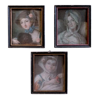 18th C. French Oil Pastel Portraits of Women - Set of 3 For Sale