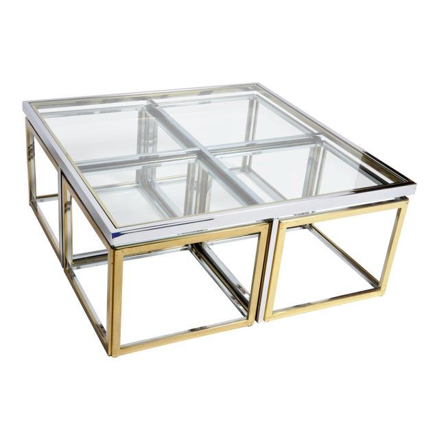 1970s Five-Piece Brass Table Set With Glass Top For Sale