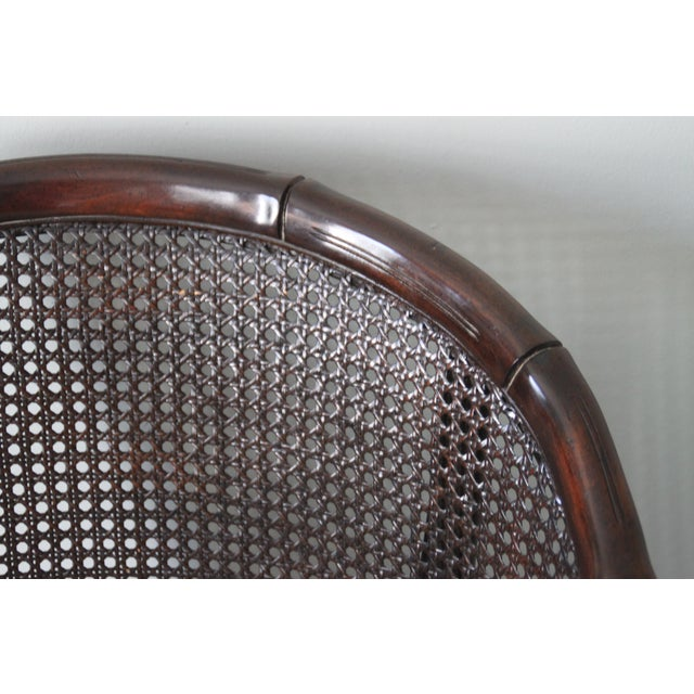 Faux Bamboo & Cane Barrel Back Chair For Sale - Image 10 of 10
