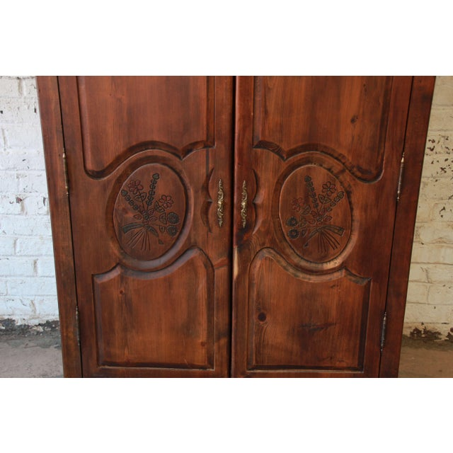 Vintage French Country Spoon Carved Dark Pine Wardrobe By