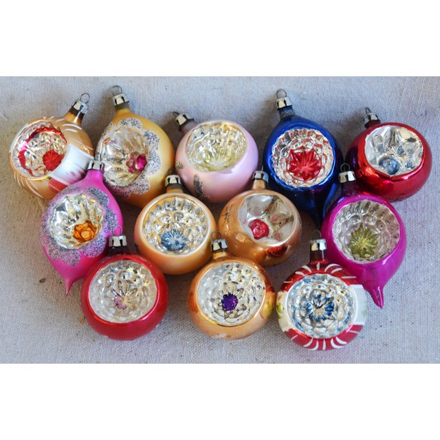 Blue Midcentury Fancy & Colorful Christmas Ornaments W/Box - Set of 12 For Sale - Image 8 of 9