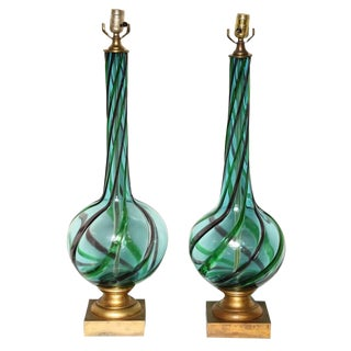 Pair of Tall Murano Seguso Lamps For Sale