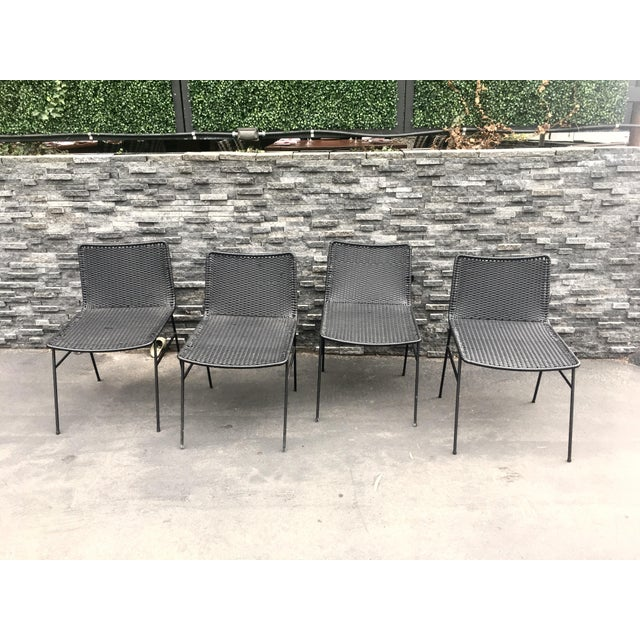Modern Black Woven Outdoor Dining Chairs - Set of 4 - Image 2 of 8