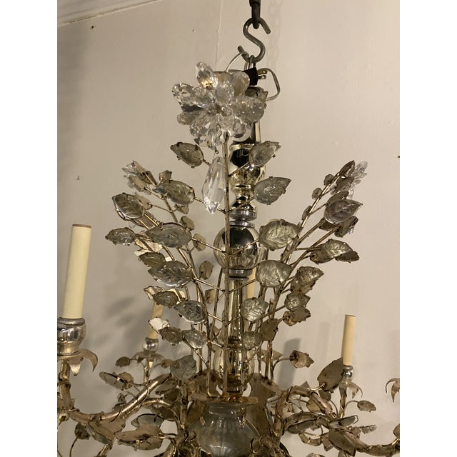 Metal 1930s French Silver Leaves Chandelier For Sale - Image 7 of 9