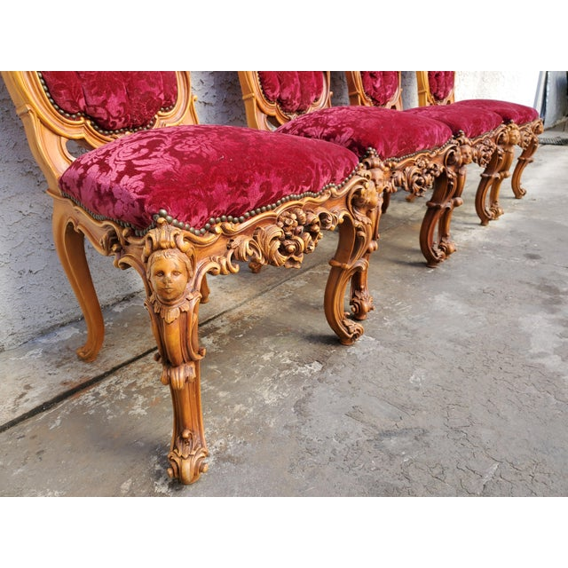 Antique Carved & Inlaid Rococo Revival Italian Round Dining Set-Set of 5 For Sale - Image 10 of 13